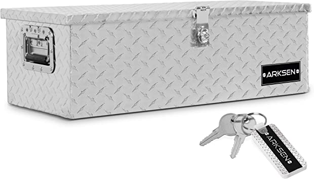 "ARKSEN 30"" Aluminum Diamond Plate Tool Box Pick Up Truck Bed RV Trailer Toolbox Storage Lock Keys, Silver: image"
