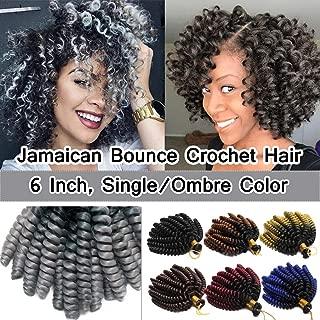 SEGO 6 Inch Jamaican Bounce Crochet Hair Jumpy Wand Curl Short Curly Jamaican Crochet Braids Synthetic Crochet Braiding Hair Extensions Ombre Twist Braid Hair Black to Silver Grey 3 Bundle