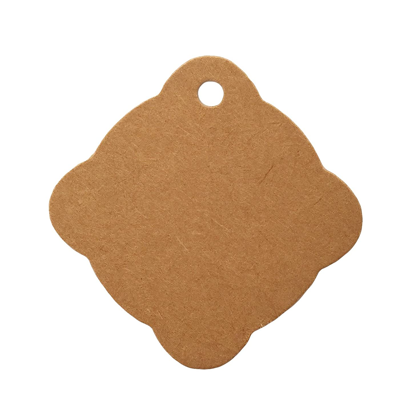 LWR Crafts 100 Hang Tags Scalloped Diamond with Jute Twines 100ft (Kraft, 2