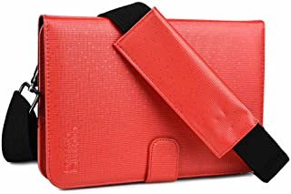 Cooper Magic Carry II Shoulder Strap Case for Craig CMP 738 | Tablet Folio Carrying Case for Business School Restaurant Travel (Red)