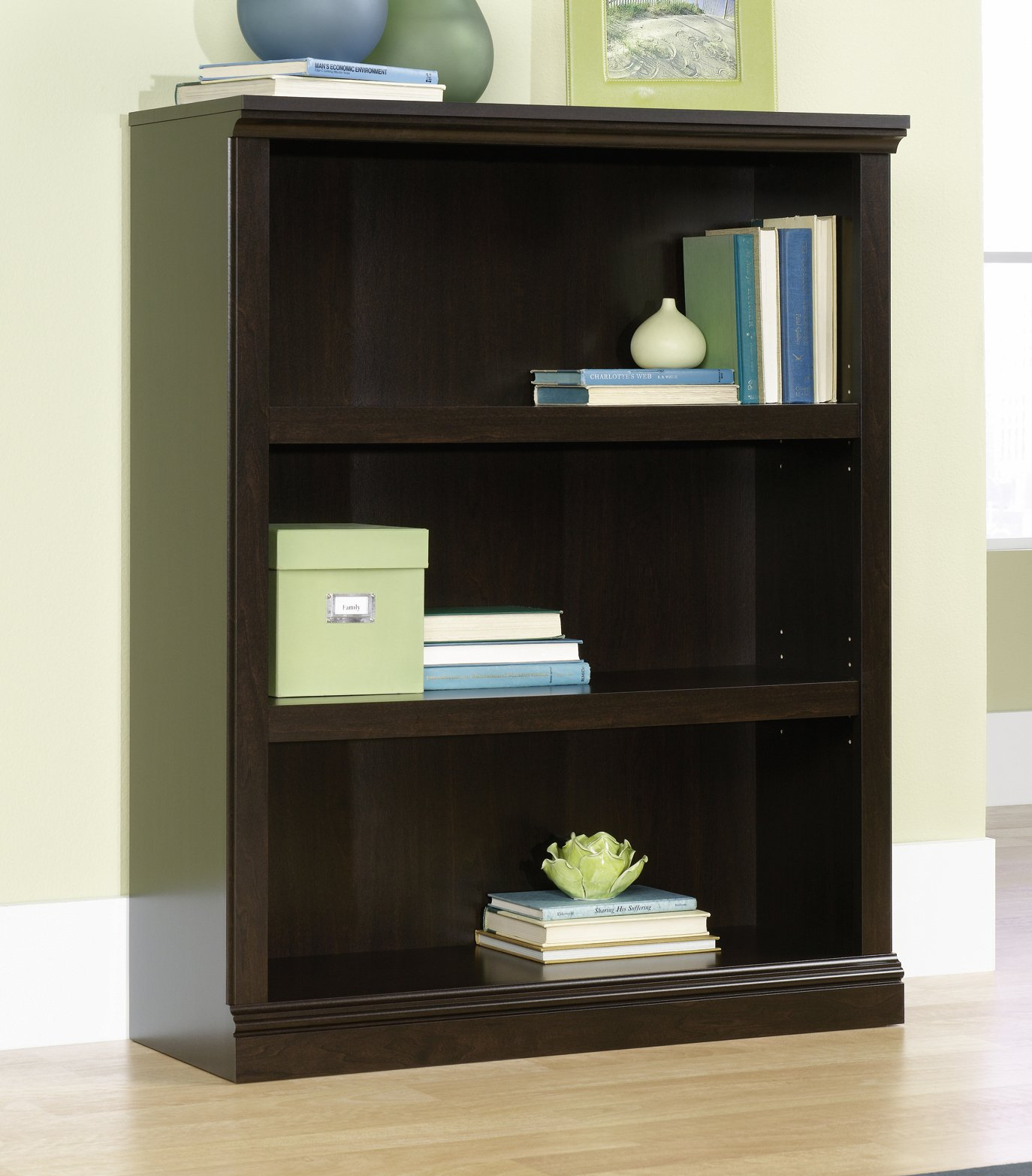 Cherry Wood Details about  /DIY 3-Shelf Storage Bookcase Easy-Assembly Thick Board Bookshelf