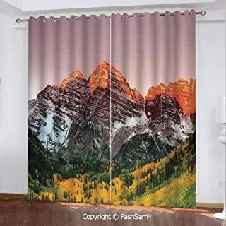 "Best Home Fashion Blackout Curtains Scenic Western American Mountains on The Valley with Snowy Peaks at Sunset Time Landscape Window Treatment Pair for Bedroom(108""X62"")"