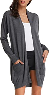 Essential Solid Open Front Long Knitted Cardigan Sweater for Women