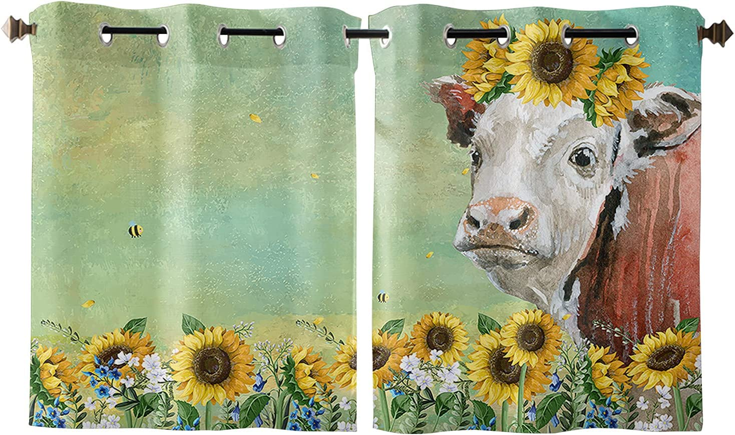 Window Curtains Idyllic Sunflower trend rank Floral Cow 2021 spring and summer new Privac Animal Farm