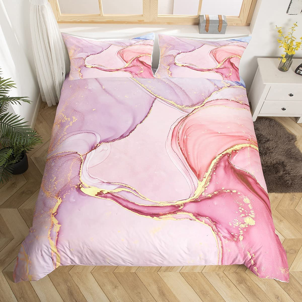 Pink Marble Duvet Cover Twin Size for Abstract Lowest price challenge Oklahoma City Mall Women Adult Girls