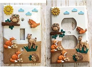 Handmade Light Switch Plate or Outlet Cover Sculpture 3D Woodland Animal Forest Friends Bambi Fox Hedgehog Owl Hamster Bird Children Decor Polymer Clay