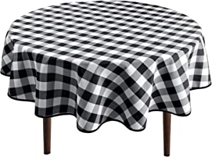 Hiasan Checkered Round Tablecloth 60 Inch - Waterproof Stain and Wrinkle Resistant Washable Fabric Table Cloth for Dining Room Party Outdoor Picnic, Black and White