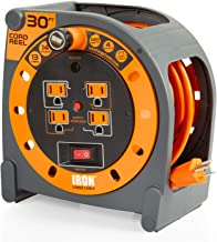 30 Ft Extension Cord Reel with 4 Electrical Power Outlets - 14/3 SJTW Heavy Duty Orange Cable