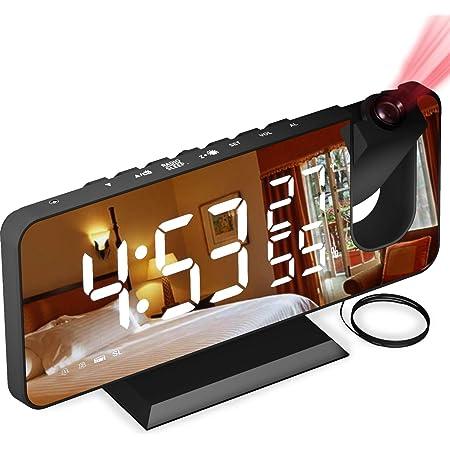 Reveil Projecteur avec Radio, Horloge Numérique, Radio Reveil Usb avec Double Alarme et Écran Miroir Led de 7, Snooze, 4 Niveaux de Luminosité, 12/24h, 15 Volume, La Maison, Le Bureau
