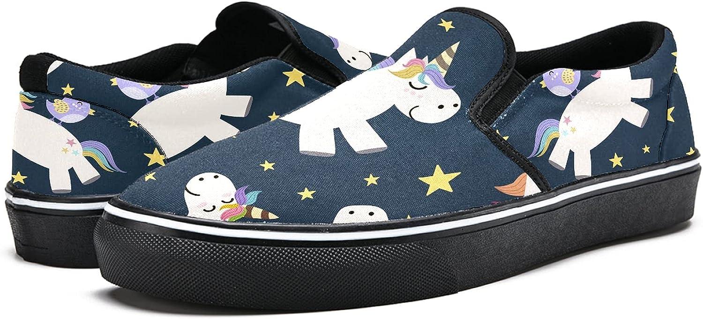 Men's Classic Slip-on Canvas Shoe Fashion Sneaker Casual Walking Shoes Loafers 11.5 Unicorns Pattern