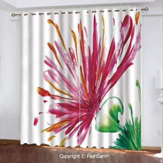 Best Home Fashion Blackout Curtains Opened Out Asiatic Oriental Lily Freesia Florets Home Art Darkening Panel for Bedroom(84