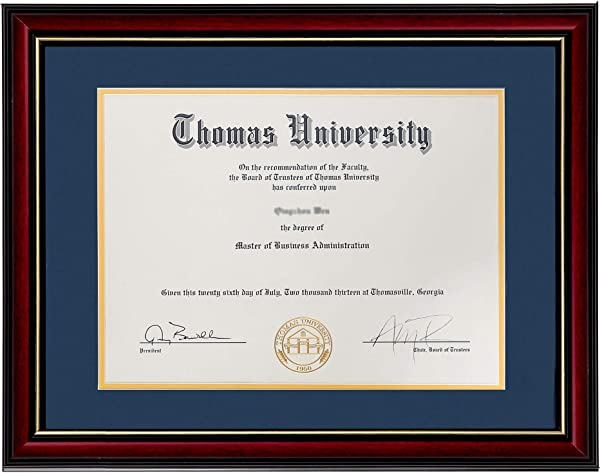 Flagship Diploma Frame Real Wood Glass Golden Rim Sized 8 5x11 Inch With Mat And 11x14 Inch Without Mat For Documents Certificates Double Mat Navy Blue Mat With Golden Rim