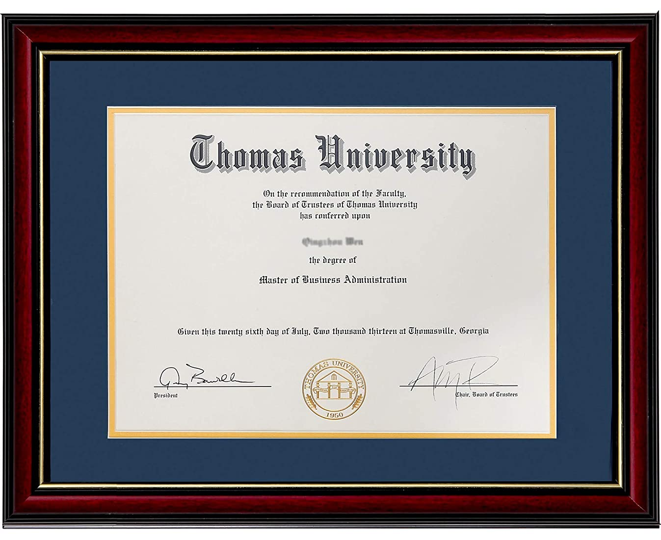 Flagship Diploma Frame Real Wood & Glass Golden Rim Sized 8.5x11 Inch with Mat and 11x14 Inch Without Mat for Documents Certificates (Double Mat, Navy Blue Mat with Golden Rim)