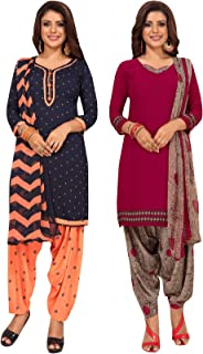 S Salwar Studio Women's Pack of 2 Synthetic Printed Unstitched Dress Material Combo-MONSOON-2868-2885