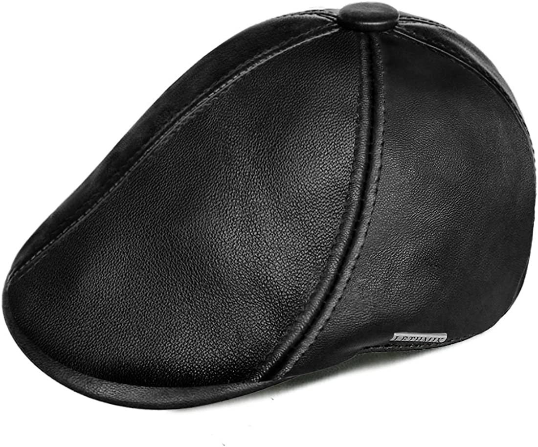 LETHMIK Genuine Lambskin Newsboy Cap Irish Ivy Cabbie Drivin Free shipping on posting reviews Hat Limited time sale