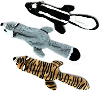 JoyToy Skinny Dog Squeaky Toy - 3 Pack Dog Toys - No Stuffing Squeaky Plush Dog Toy for Small-Sized Dogs (Raccoon,Skunk,Ti...