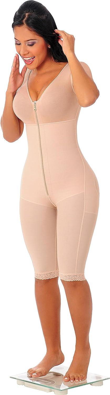 Fajas Colombianas Salome Lipoesculpure Girdle Bodyshaper with Sleeves & Bra 0524 (XS, BEIGE)