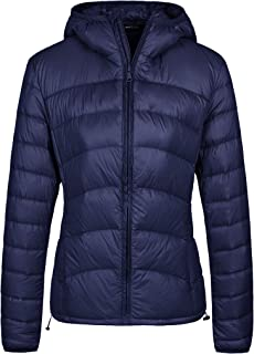 Wantdo Women's Hooded Packable Lightweight Chevron Down Jacket Winter Outerwear