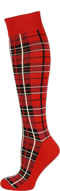 Mysocks Knee High Long Socks Plaid Design