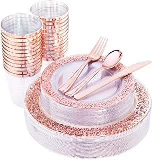 "IOOOOO 150 Pcs Rose Gold Plastic Plates & Silverware & Disposable Cups, Laced Design Includes 25 Dinner Plates 10.25"", 25 Dessert Plates 7.5"", 25 Tumblers, 25 Forks, 25 Knives, 25 Spoons"