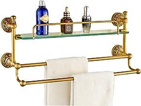 Badkamer plank, enkellaags koperen glazen plank glazen plank voor badkamer balkon keuken spiegel voorframe 4 maat optionee...