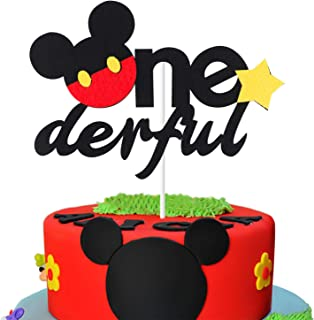 MALLMALL6 Onederful Mickey Mouse Inspired Cake Topper First Birthday Party Decoration Supplies