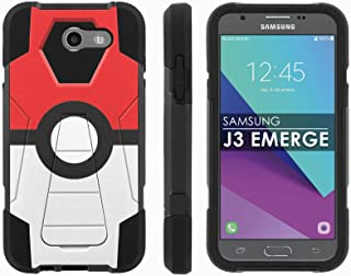 Samsung Galaxy J3 Emerge [2017] Mil-Spec [Mobiflare] [Black/Black] Dual Layer Armor Case [Kickstand] [Screen Protector] - [Red Ball] for Galaxy [2017] [J3 Emerge] [5