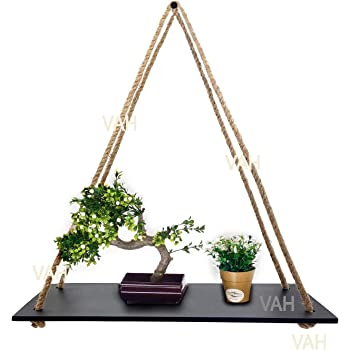 VAH Wall Hanging Black Shelf, Set of 1 Wood Floating Shelves for Wall Rustic Rope Shelves Plant Shelf Farmhouse Decor for Living Room Bathroom Bedroom Kitchen Apartment -Wood Hanging Shelf Bohemian