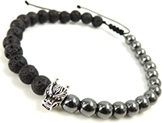 Wolf Bead Goth Punk Rocker Design Handmade Braided Adjustable Drawstring Bracelet, Hematite, Lava Rock 6mm Protection Stones, Men's Women's Casual Wear, Authentic 925 Purity Non-plated Sterling Silver