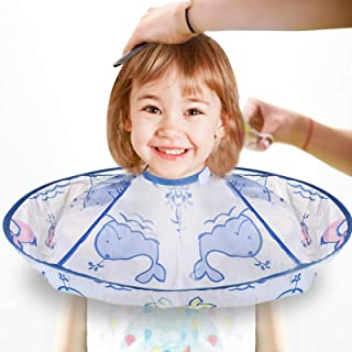 Kid Haircut Hairdressing Cape, MS.DEAR Child Haircut Umbrella Cape with Self Adhesive Fastener, Waterproof Hair Cutting Ac...