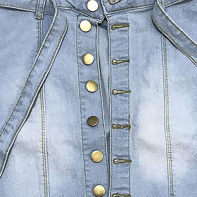 Denim Mini Skirts for Women Short Jeans Mini Dress High-Waist Stretch Lace-Up Single-Breasted Denim Skirts