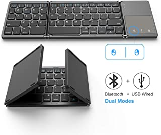 لوحة مفاتيح بلوتوث قابلة للطي، جيلي كومب بميكروفون ثنائي الوضع، بلوتوث & USB سلكي قابل للشحن لوحة مفاتيح لاسلكية صغيرة BT ...