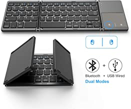 Foldable Bluetooth Keyboard, Jelly Comb Dual Mode Bluetooth & USB Wired Rechargable Portable Mini BT Wireless Keyboard with Touchpad Mouse for Android, Windows, PC, Tablet-Dark Gray