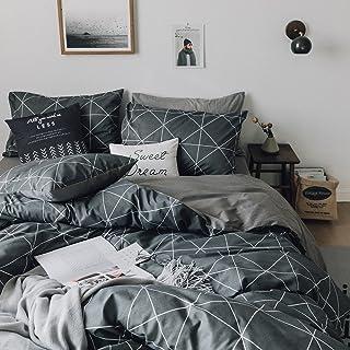 HIGHBUY Premium نخی کامل ملافه تختخواب سفارشی خاکستری ، کاور مخصوص ملحفه خاکستری ، برای پسرها ، پسران مردانه ، پوشیده شده با روکش دوتایی کامل 3 قطعه ، مجموعه کامل ملافه ملکه ، سبک وزن