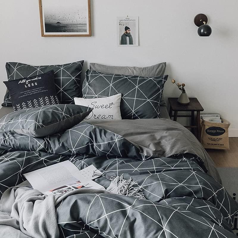 HIGHBUY Premium Cotton Full Bedding Sets Grey Comforter Cover Set Queen Duvet Cover For Boys Men Geometric Plaid Duvet Cover Full 3 Pieces Full Queen Bedding Collection Lightweight