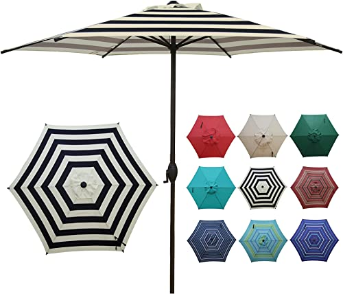 Abba Patio 9ft Striped Patio Umbrella Outdoor Umbrella Patio Market Table Umbrella with Push Button Tilt and Crank fo...