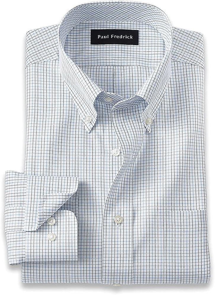 Paul Fredrick Men's Classic Fit Pure Cotton Mini Check Dress Shirt