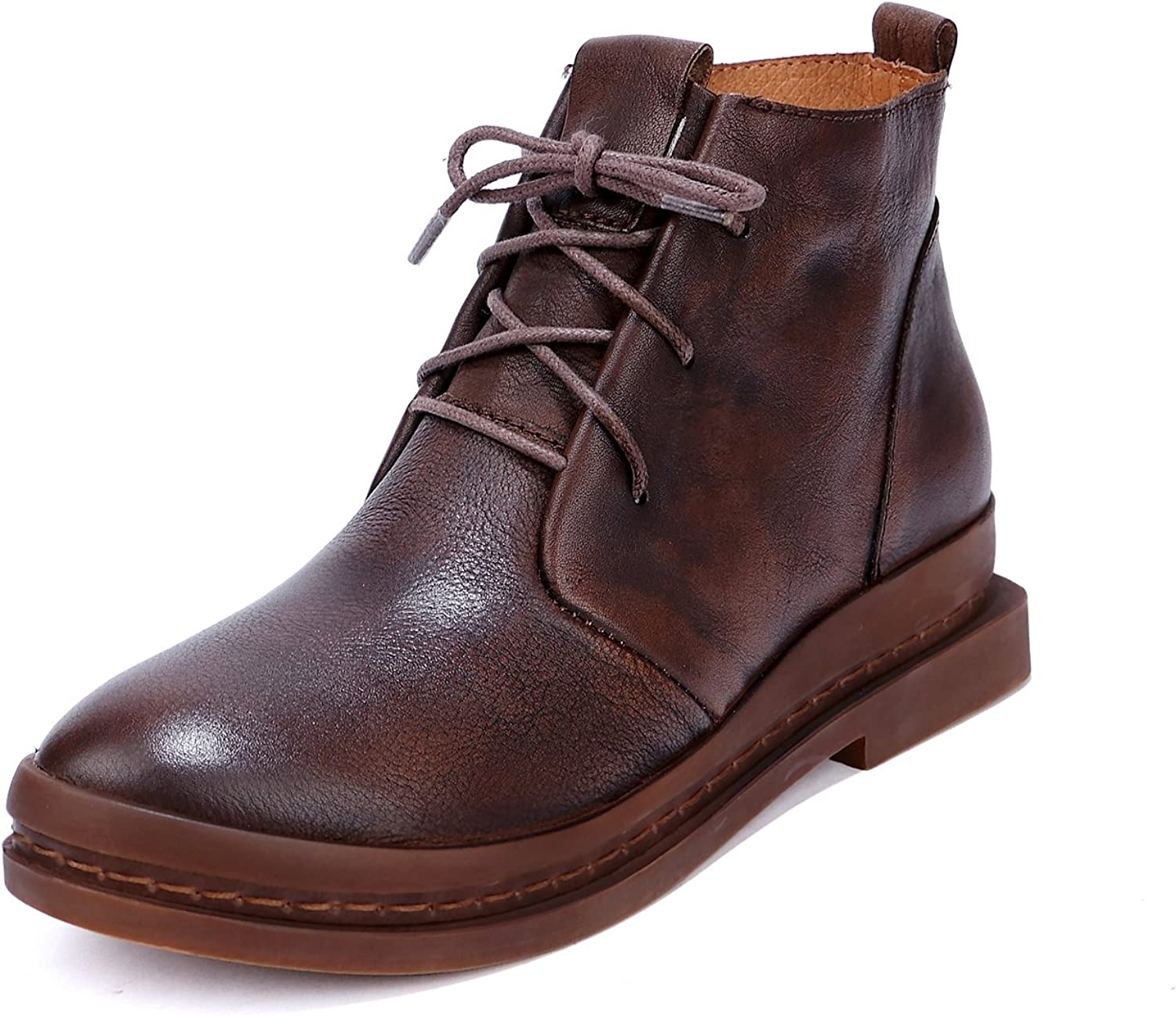 Dwarves Women's Handmade Retro Leather Martin Boots Lace Up Comfortable Walking Boots Coffee Black