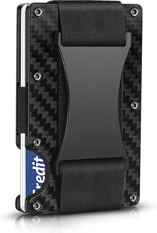 Carbon Fiber Wallets for Men, Minimalist Aluminum Metal Wallet, RFID Money Clip Wallet for Men, Mens Wallet Carbon Fiber Card Holder