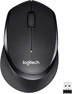 Logitech M330 Silent Plus Wireless Mouse, 2.4GHz with USB Nano Receiver, 1000 DPI Optical Tracking, 3 Buttons, 24 Month Life Battery, PC/Mac/Laptop - Black
