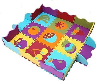 MQIAOHAM Kids Floor Mat Exercise EVA Espuma Tapetes para Niños �rea de Juego Rompecabezas Enclavamiento Soft Foam Activity Juego Mat Set Azulejos Floor Inter-Locking Mats Fruit P006B3010