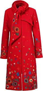 IVKO Boiled Wool Coat with Embroidery in Red