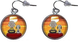 Orecchini pendenti in acciaio inossidabile, diametro 20 mm, fatto a mano, illustrazione Charlie Brown