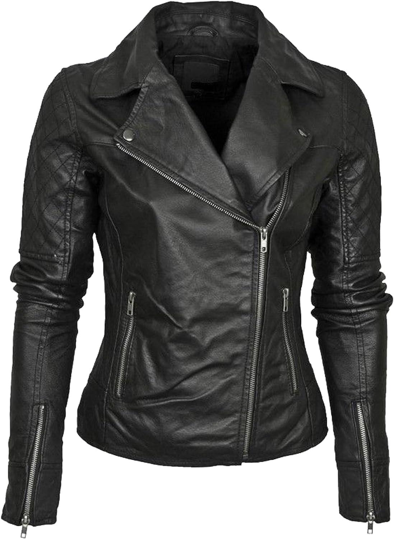 New Women Motorcycle Lambskin Leather Jacket Coat Size XS S M L XL LTN643