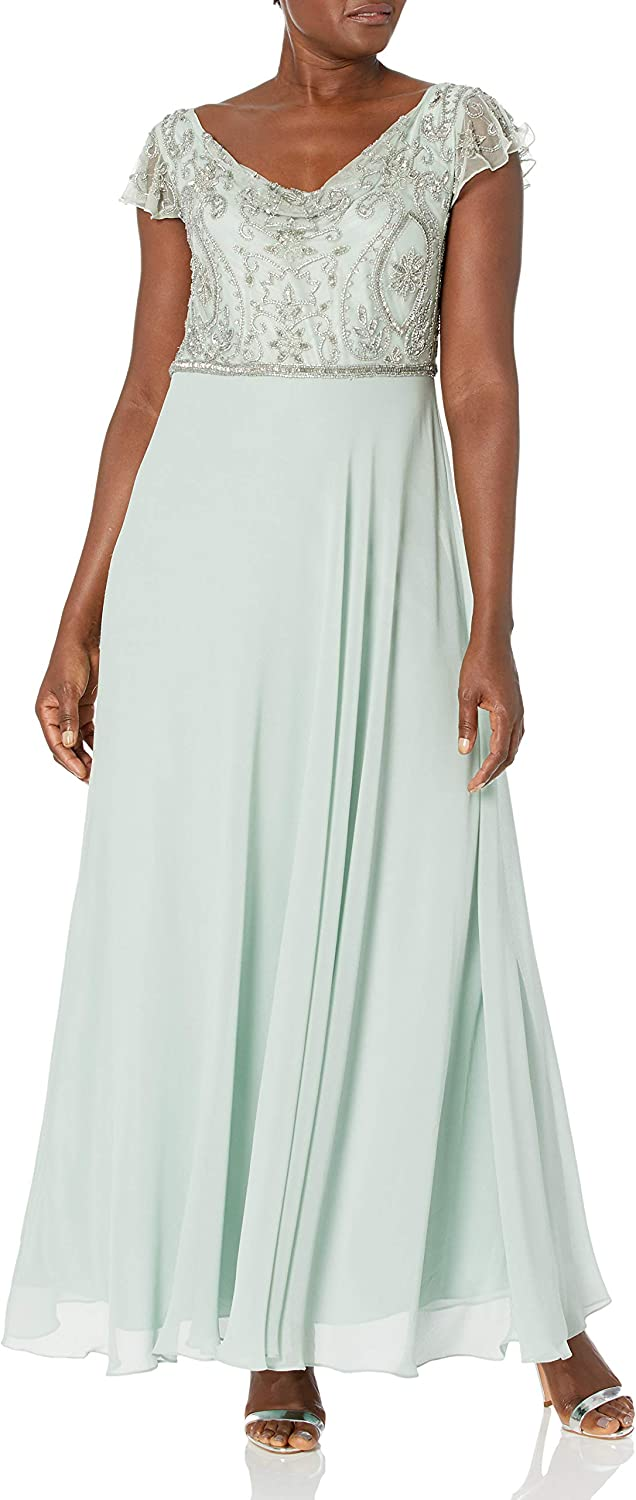 J Kara Women's Back and Front Cowlneck Beaded Short Sleeve Gown