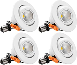 TORCHSTAR High CRI90+ 4 Inch Dimmable Gimbal Recessed LED Downlight, 10W (75W Equiv.), Energy Star, 5000K Daylight, 800lm, Adjustable LED Retrofit Lighting Fixture, 3 Years Warranty, Pack of 4