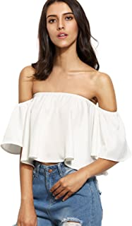 Women's Boho Ruffle Off Shoulder Bell Sleeve Crop Top Blouse