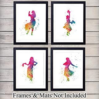 Hawaiian Hula Girl Watercolor - Colorful Unframed Wall Art Prints - Set of Four - Great Gift for Girls Room - Chic Home Decor - Ready to Frame (8x10) Photos