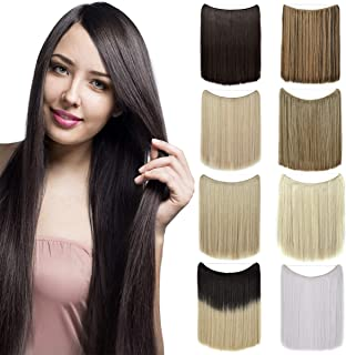 Invisible Wire in Hair Extensions No Clips Hidden Elastic Miracle Fish Line Hairpiece Synthetic Hair for Girls 20