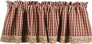 Primitive Home Decors Berry Vine Check Valance - Barn Red